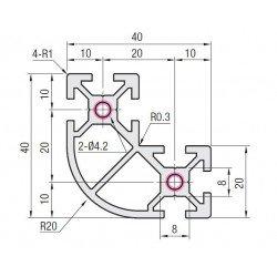 Rounded L-Shape Aluminium Profile 6mm Slot 40x40x20