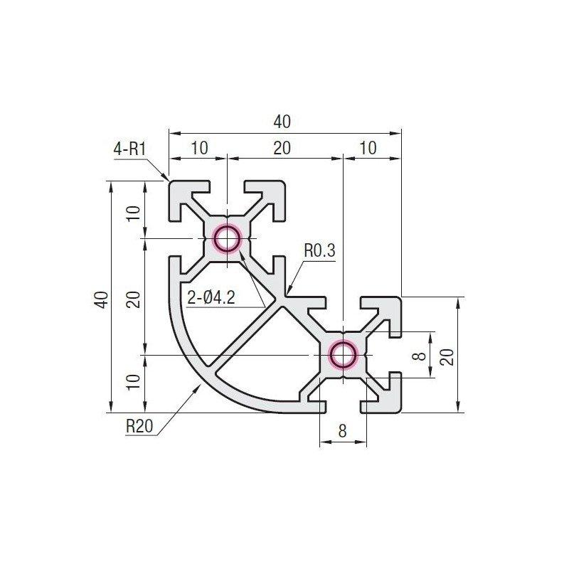 Profilé aluminium arrondi en L 40x40x20 - fente de 6 mm