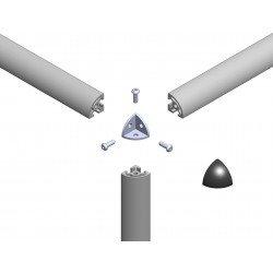 Raccord d'assemblage - 3 profilés arrondis 6 mm - Gris
