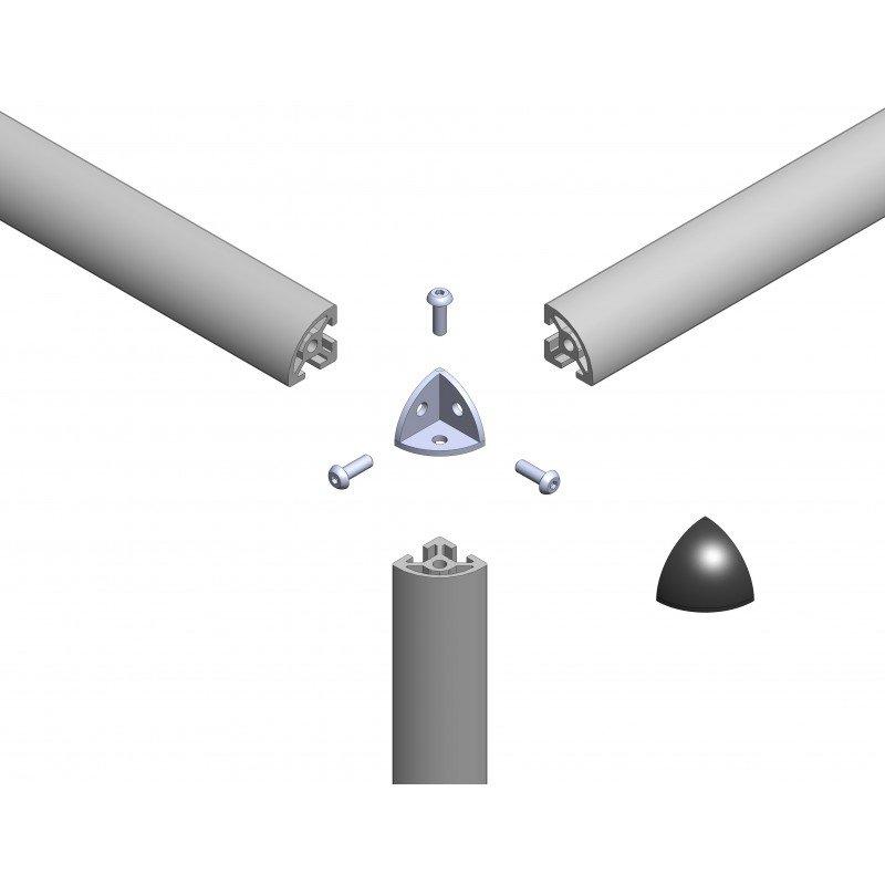 raccord d 39 assemblage 3 profil s arrondis 6 mm gris trous 3 3 mm syst al. Black Bedroom Furniture Sets. Home Design Ideas