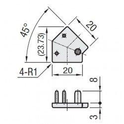Embout de protection pour profilés20x20 angle de 45° - fente de 6 mm - Gris