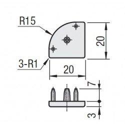 Embout de protection pour Profilé aluminium 20x20 arrondi à fente de 6mm (Ø3,3mm) - Gris