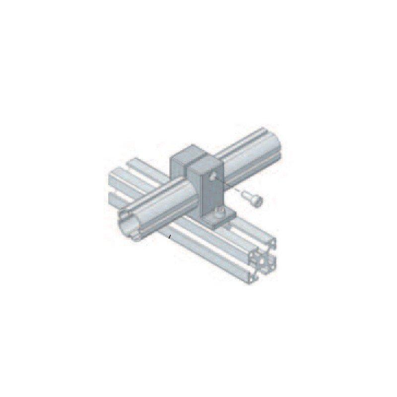 Connecteur profilé aluminium rond / profilé carré - En X