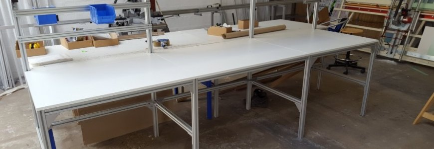A custom made packing table